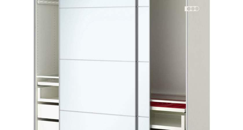 Pax Wardrobe White Auli Mirror Glass Ikea