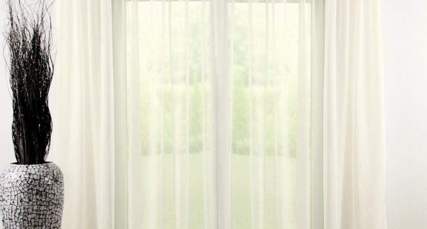 Pencil Pleat Voile Curtain Ivory