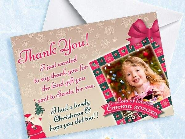 Personalised Christmas Girls Thank Cards