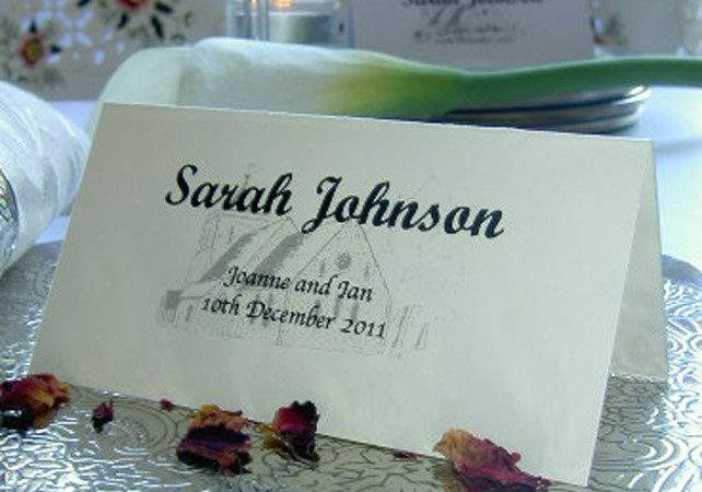 Personalised Wedding Place Name Table Setting Meal Cards