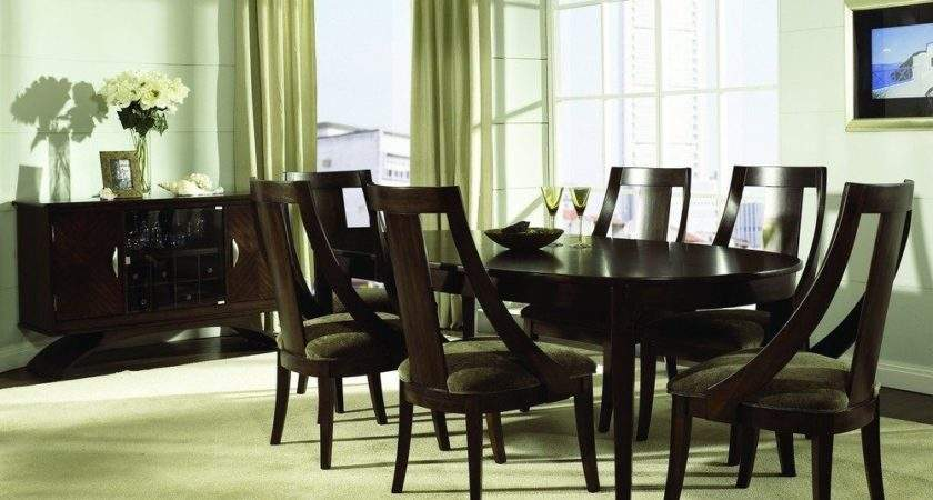 Piece Dining Room Set Cognac Dark Wood