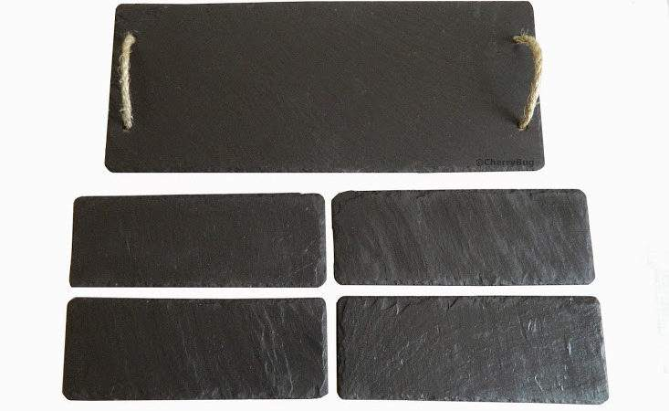 Piece Slate Sushi Dinner Set Placemats Table Mats Party