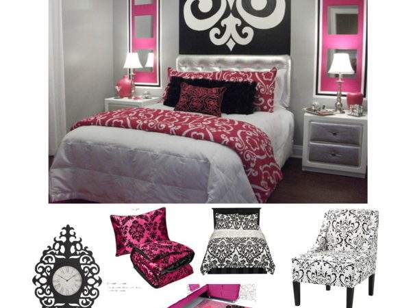 Pink Black White Damask Bedroom Polyvore