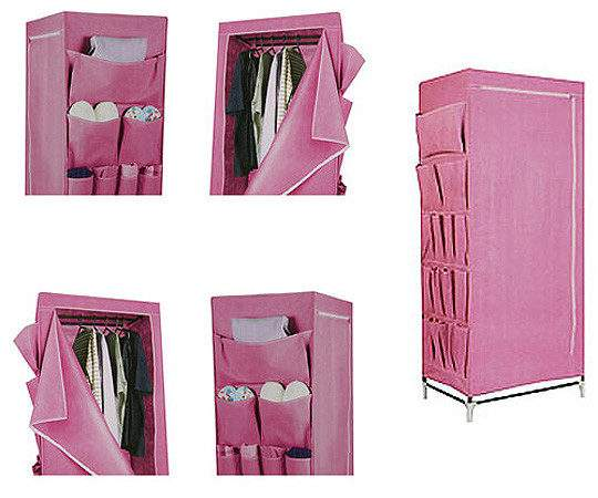 Pink Canvas Wardrobe Home Bargains