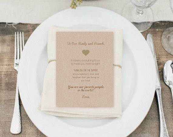 Place Setting Thank Cards Wedding Favor