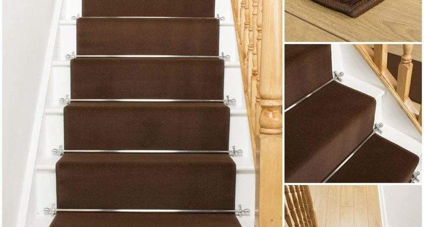 Plain Brown Stair Carpet Runner Narrow Staircase
