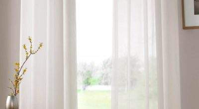 Plain Ring Top Voile Ivory Delivery Terrys Fabrics