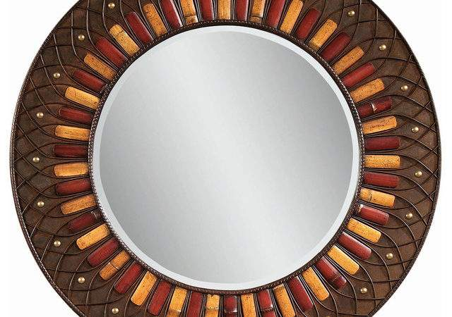 Plantation Style Round Wall Mirror Eclectic Mirrors