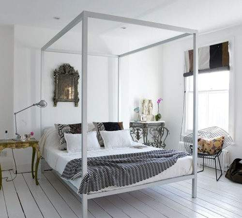 Plywood Painted Floors White Bedroom Four Poster Bed