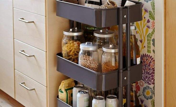 Portable Spice Rack Wheels Beside Cabinet Tiny