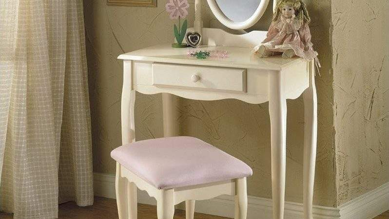 Powell Furniture Off White Girls Wood Makeup Vanity Table