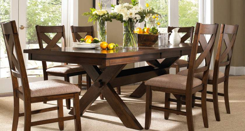 Powell Piece Kraven Dining Room Set Dark Hazelnut