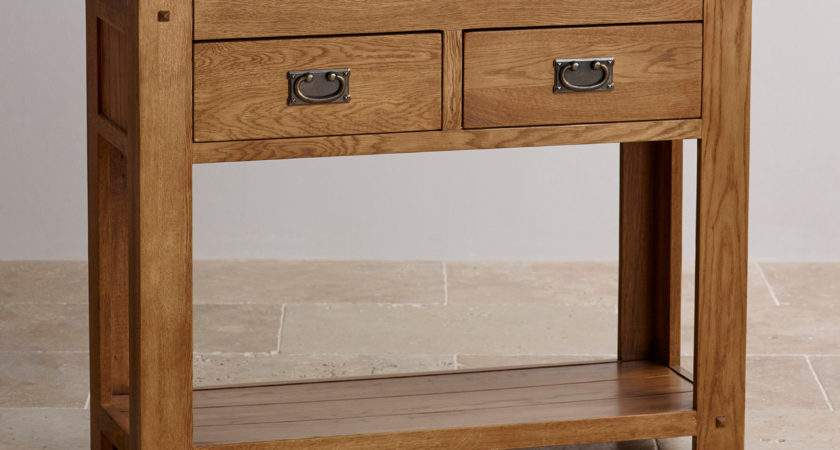 Quercus Console Table Rustic Solid Oak Furniture Land