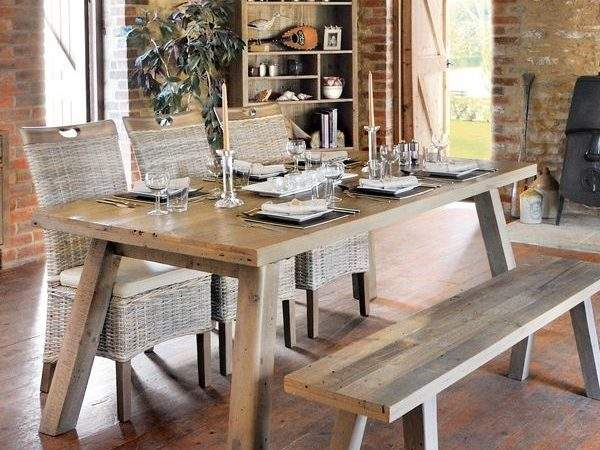 Reclaimed Pine Dining Table Rustic Danish Retro Style