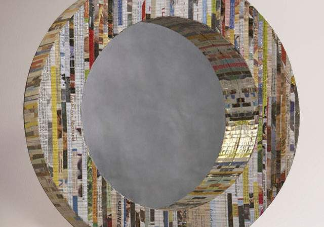 Recycled Magazine Round Mirror Eclectic Wall Mirrors