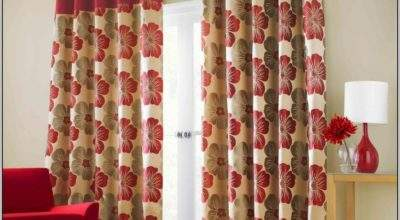 Red Cream Curtains Living Room Home Design