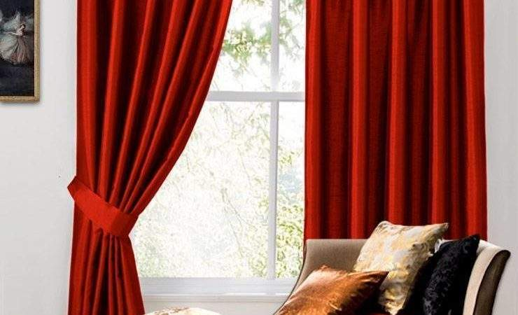 Red Faux Silk Pencil Pleat Lined Curtains
