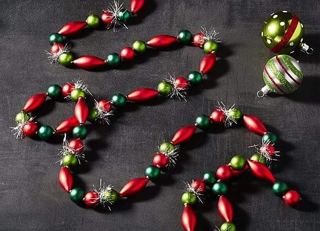 Red Green Bauble Garland Tinsel Crate Barrel