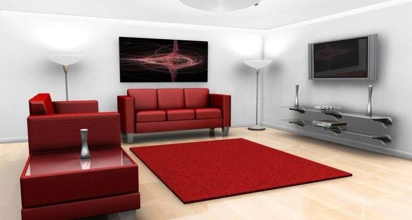 Red Sofa White Wall Living Room House
