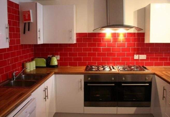 Red Tiled Splashback Kitchen White
