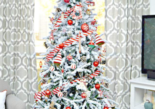 Red White Candy Cane Themed Flocked Christmas Tree