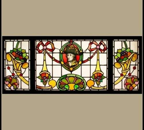 Ref Edwardian Stained Glass Window Ploughing