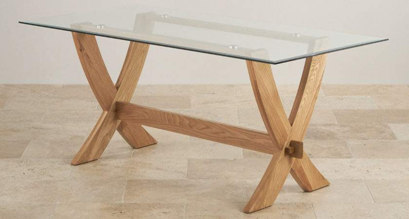 Reflection Glass Top Natural Solid Oak