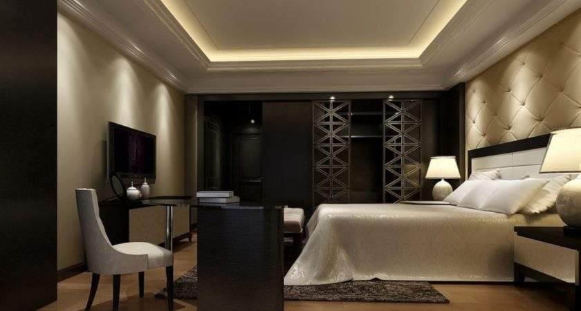 Rendering Night Elegant Bedroom White Wardrobe