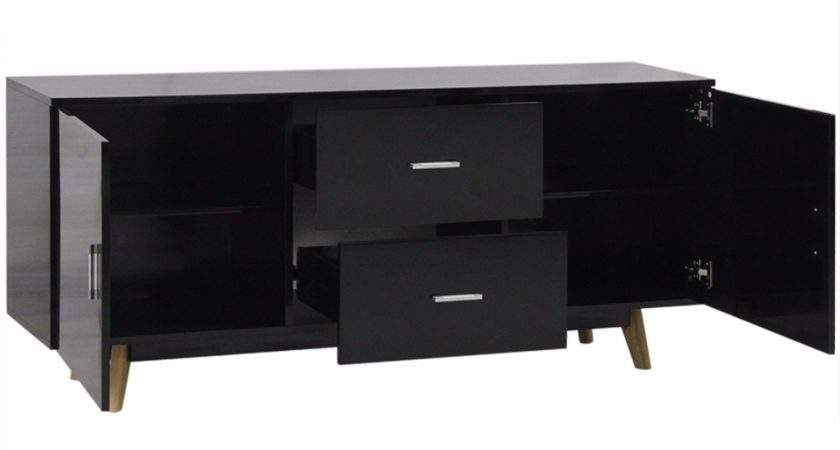 Retro Black Sideboard Gloss Wood Cabinet Storage Buffet