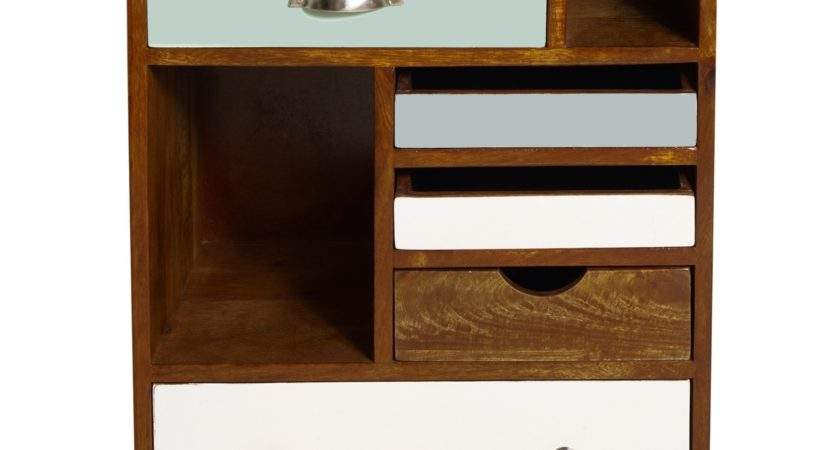 Retro Brown Teak Wood Bed Side Table Blue White