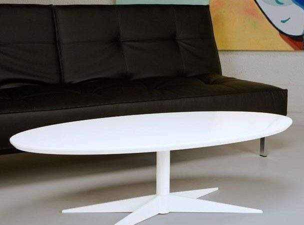 Retro White Coffee Table Oval Standard Party Rentals