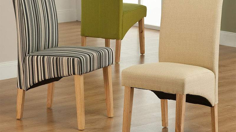 Roma Striped Fabric Dining Chair