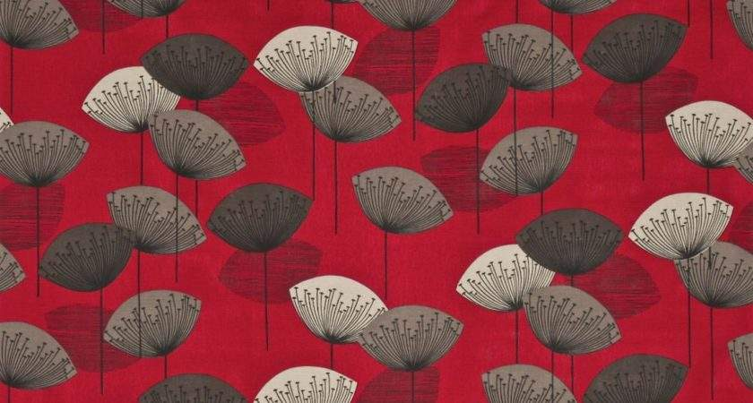 Roman Blinds Dandelion Clocks Fabric Red Dopnda