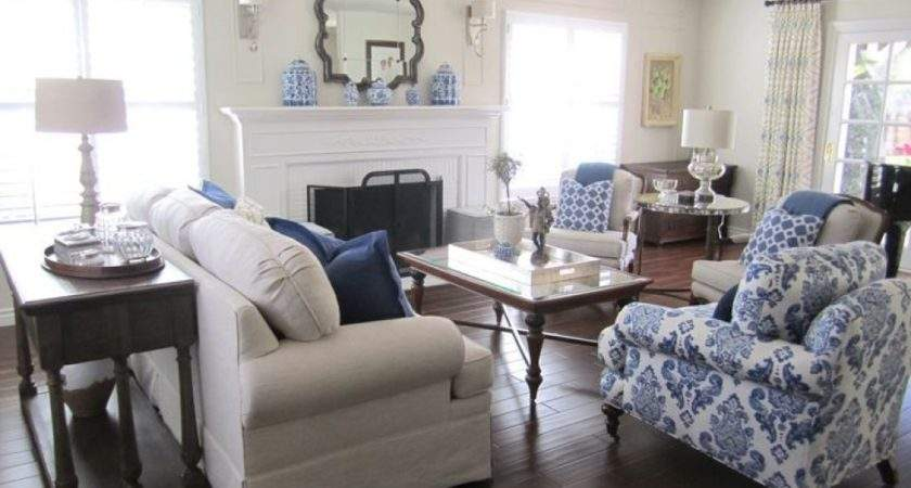 Room Blue White Living Decorating Ideas