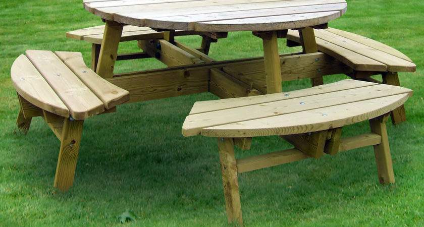 Rose Round Seater Picnic Table Garden