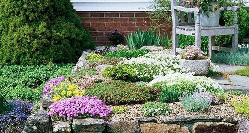 Rustic Flower Beds Rocks Front House Ideas