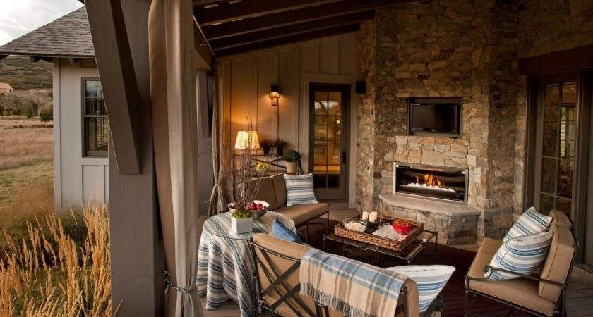 Rustic Outdoor Living Room Stone Fireplace