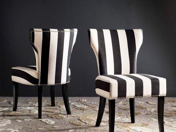 Safavieh Vogue Dining Matty Black White Striped