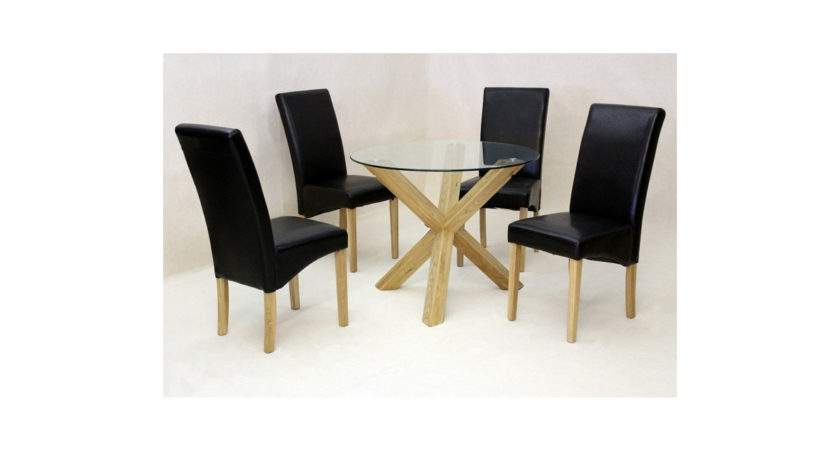 Saturn Small Glass Dining Table Solid Oak Legs