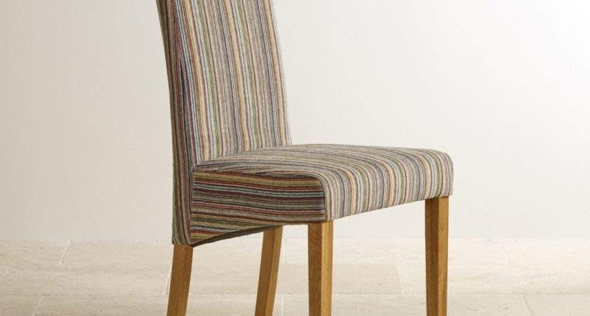 Scroll Back Dining Chair Striped Multicoloured Fabric