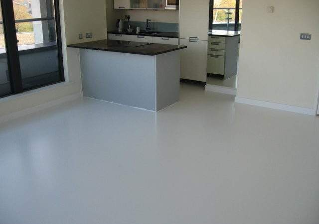 Seamless White Poured Rubber Resin Flooring Greenwich
