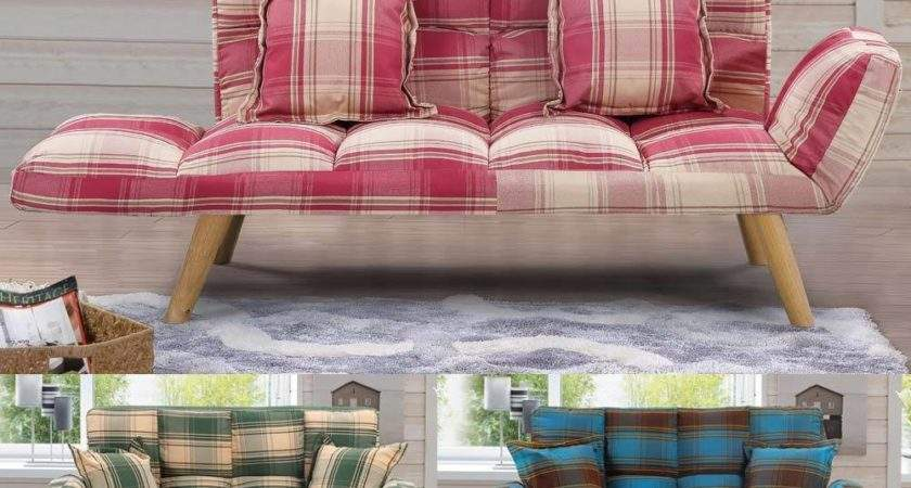 Seater Sofa Tartan Plaid Style Small Couch Home Bed
