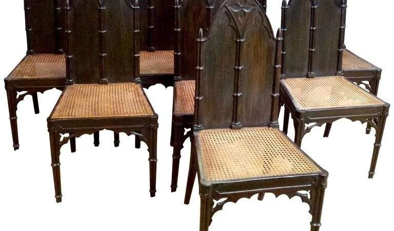 Set Eight Regency Gothic Hall Chairs Stdibs