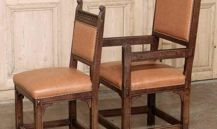 Set Eight Rustic Dutch Gothic Dining Chairs Stdibs