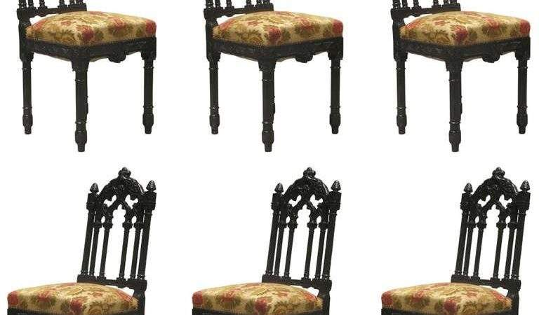 Set Gothic Revival French Dining Chairs Sale