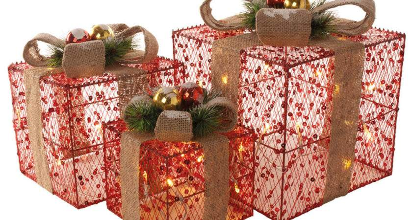 Set Red Sequin Christmas Xmas Presents Gift Parcels