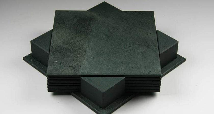 Set Slate Table Mats Smooth Honister Green