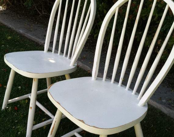 Set Vintage Shabby Chic White Chairs Thepaintedldy