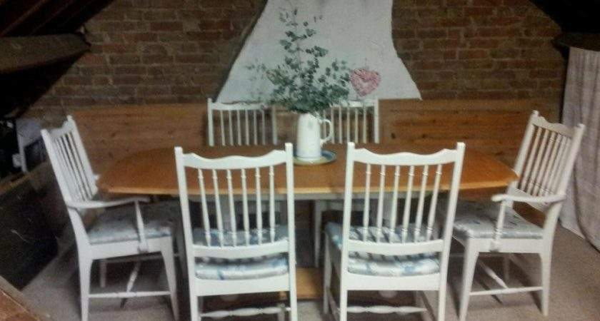 Shabby Chic French Country Table Six Chairs Fired Earth