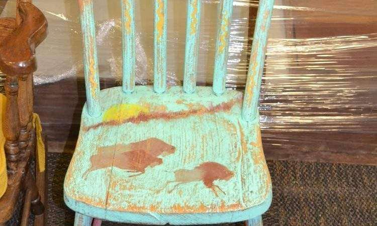 Shabby Chic Hand Painted Buffalo Vintage Wood Chair